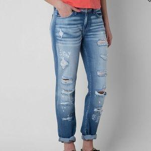 KanCan midrise boyfriend jeans size 26 destructed